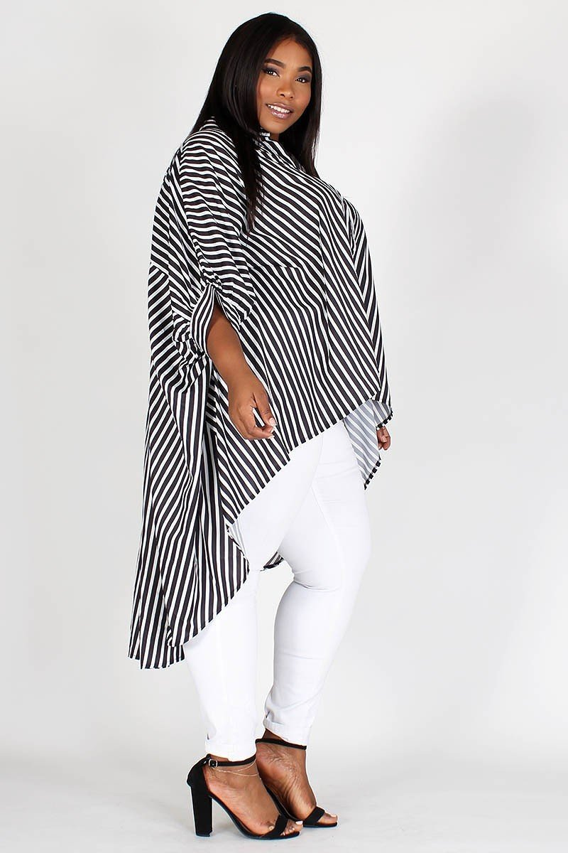 Hi Low Dolman Sleeve Stripe Top