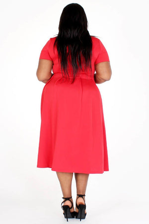 Modest Plus Size Bow Tie DressModest Plus Size Bow Tie Dress, red tie around the neck side, side pockets- Your Style Clothing