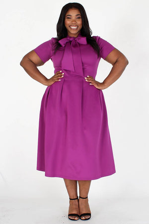 Modest Plus Size Bow Tie Dress, purple tie around the neck side, side pockets- Your Style Clothing