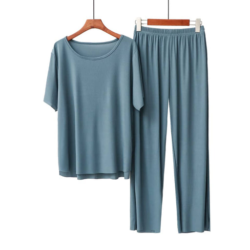 Peony Bamboo Ribbed Culottes Set - Dusty Blue