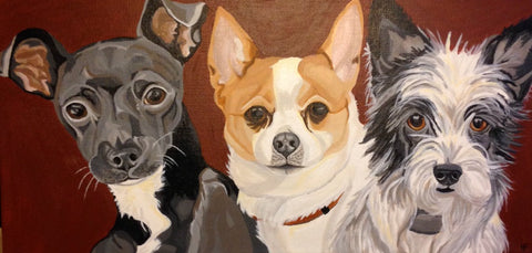"Three Pet Portrait 10"" x 20"""