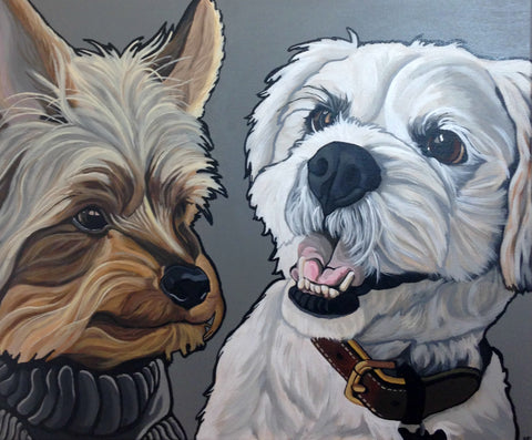 "Two Pet Custom Portrait 12"" x 16"""