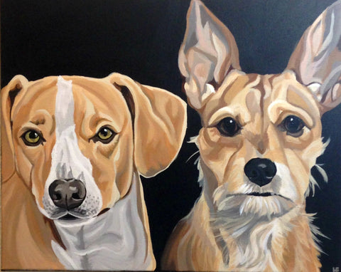 "Two Pet Custom Portrait 18"" x 24"""