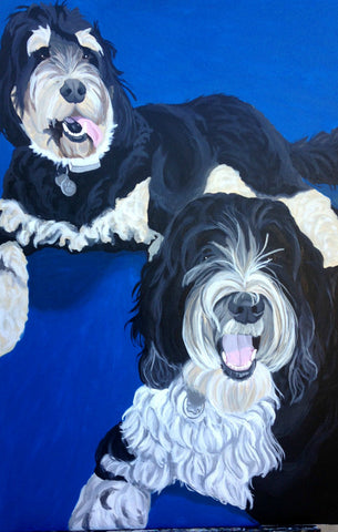 "Two Pet Custom Portrait 24"" x 36"""