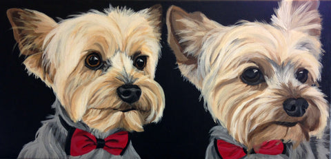 "Two Pet Custom Portrait 10"" x 20"""