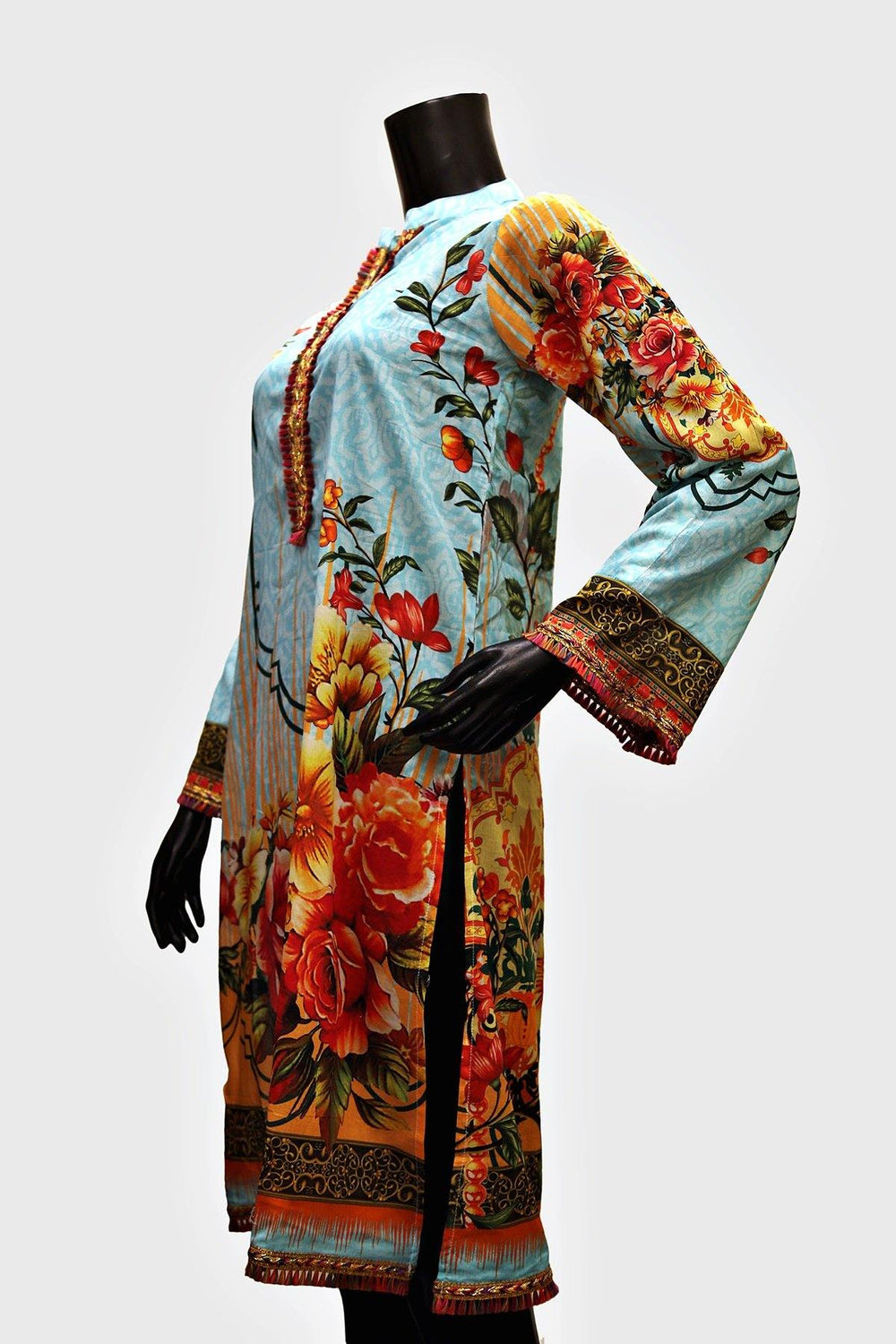 Colorful Lace Floral Printed Kurti