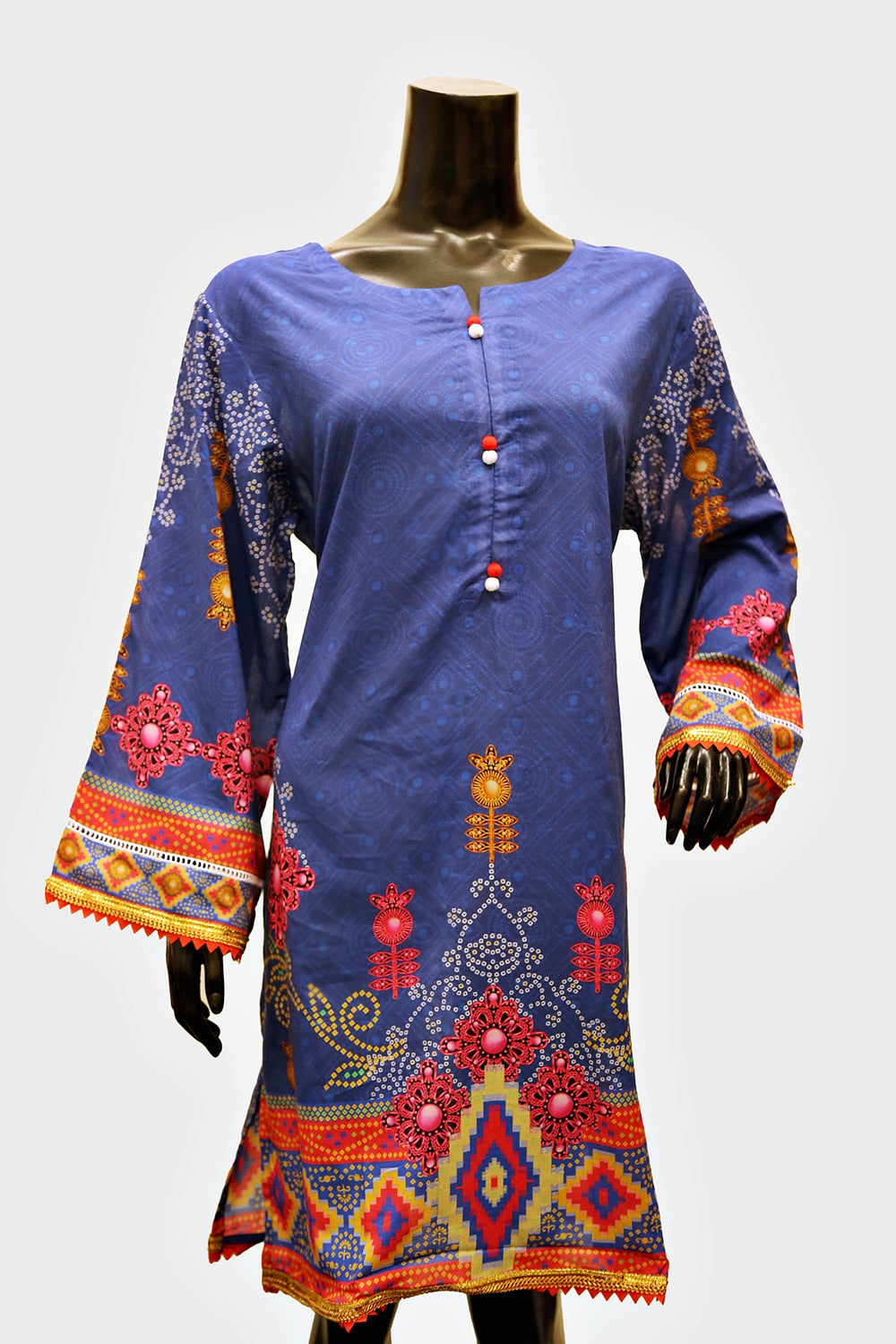 Navy Blue Digital Geometric Printed Kurti