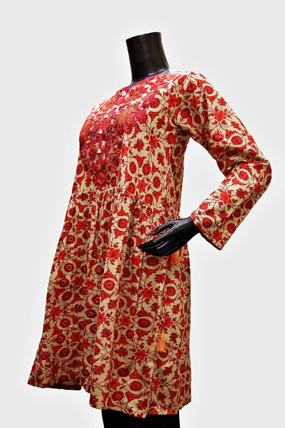 Floral Sheath Lace Neck Kurti - Brandsea UK