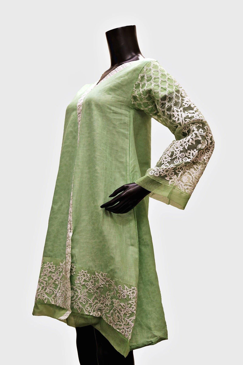Embroidered Lace Sleeves Kurti