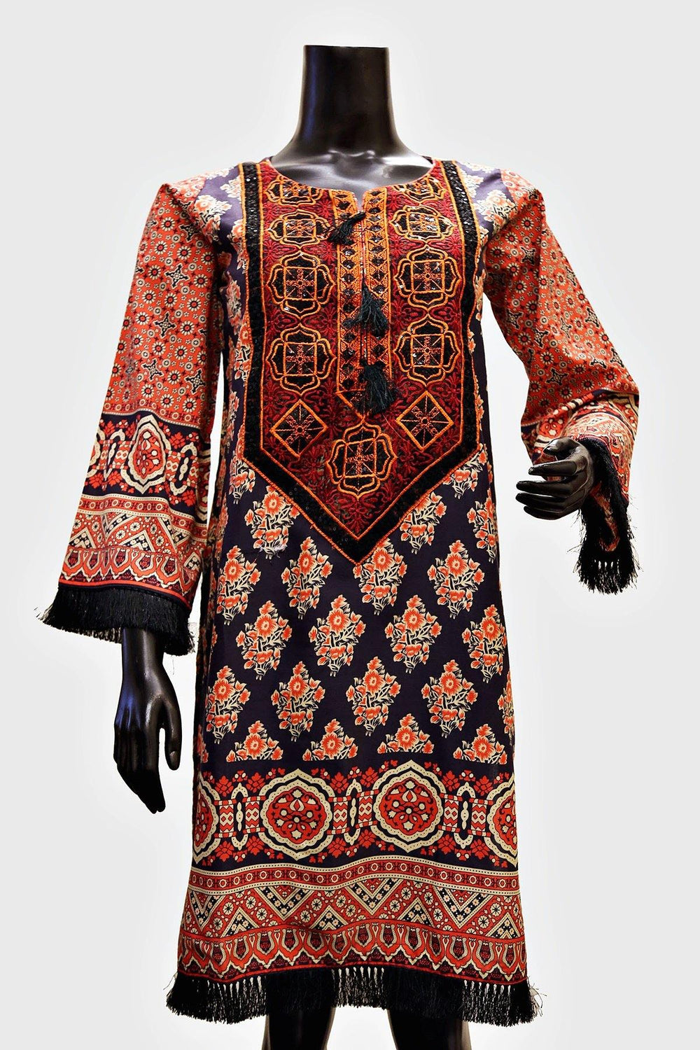 Full Embroidered Neck Digital Print Kurti - Brandsea UK