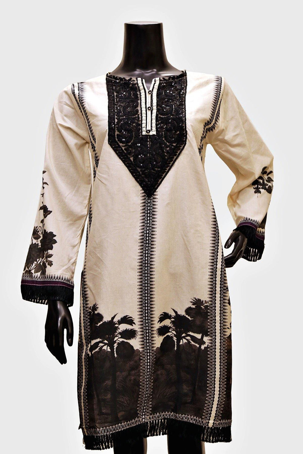 Black Embroidered Digital Print Kurti