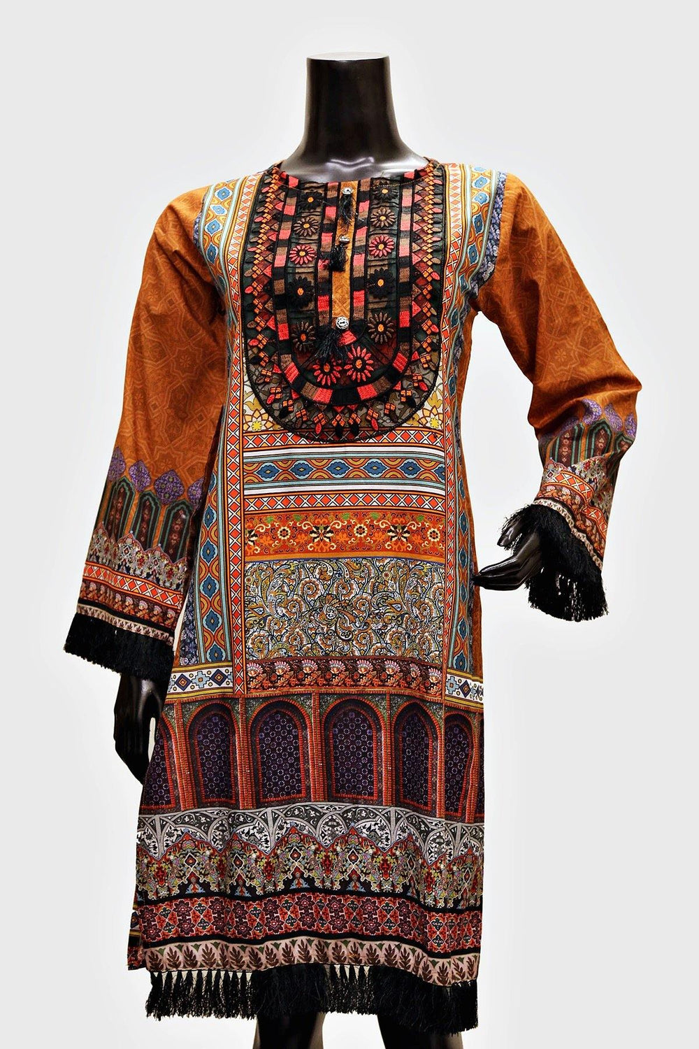 Floral Embroidered Neck Print Kurti