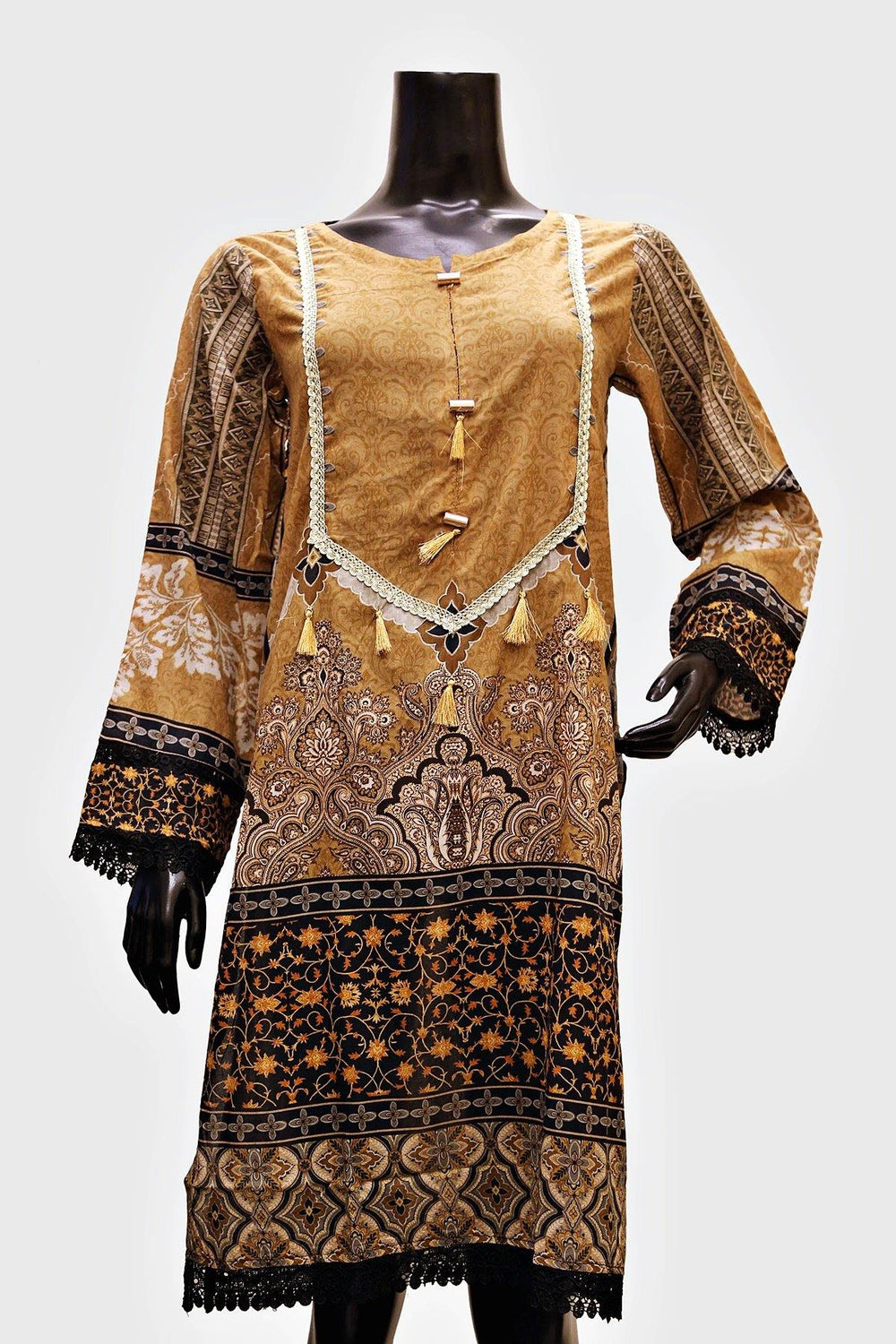 Brown Floral Digital Print Kurti