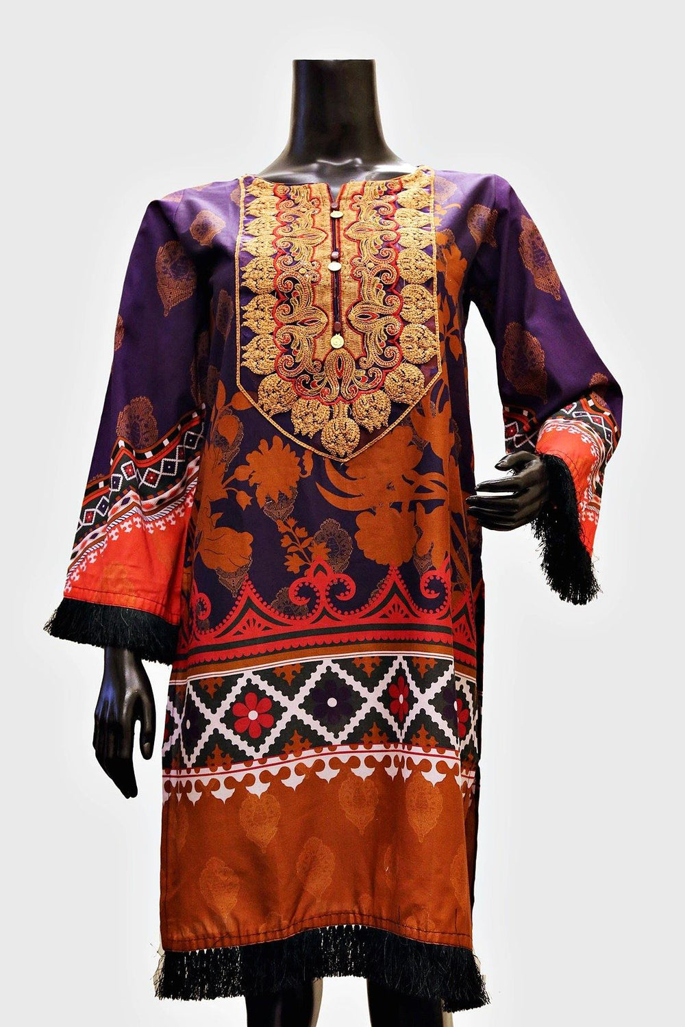 Golden Embroidered Neck Floral Kurti