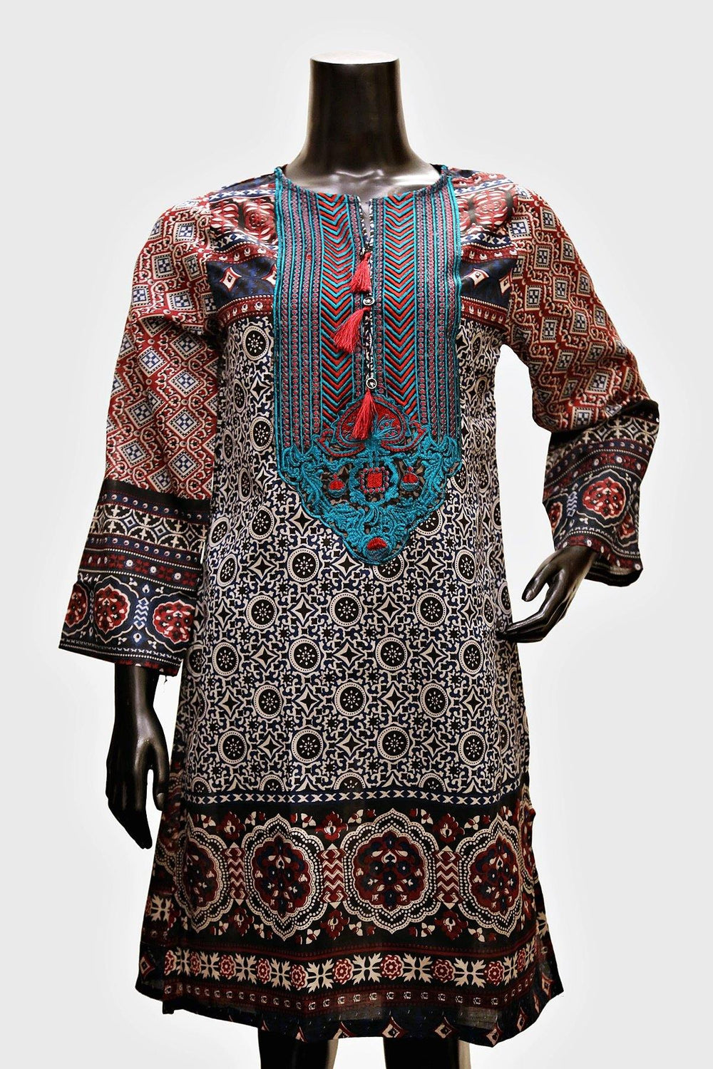Green Red Neck Embroidered Kurti