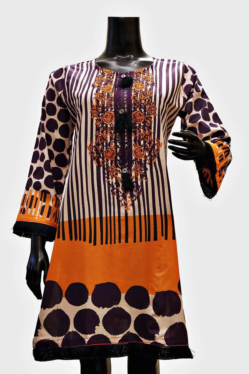 Floral Embroidered Stripes Print Kurti - Brandsea UK