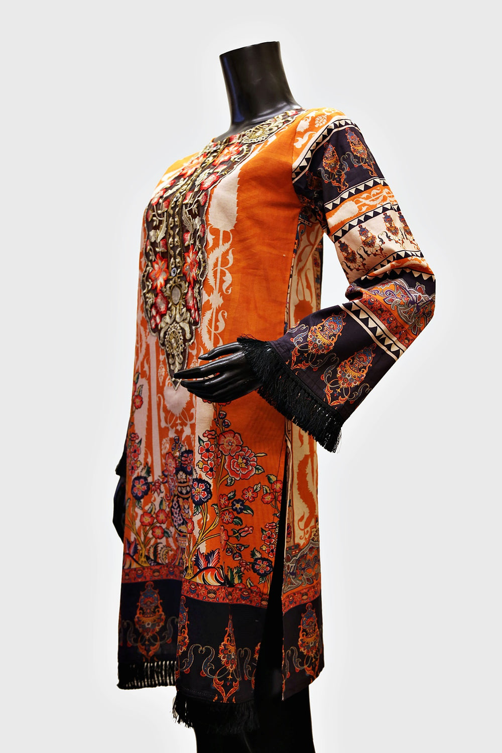Orange Floral Lace Embroidered Kurti