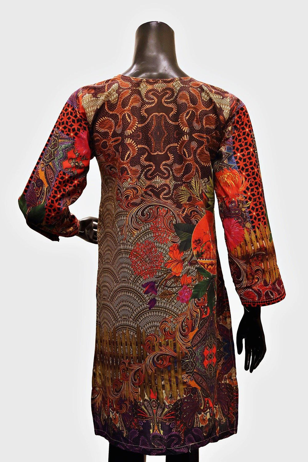 Brown Embroidered Floral Print Kurti - Brandsea UK