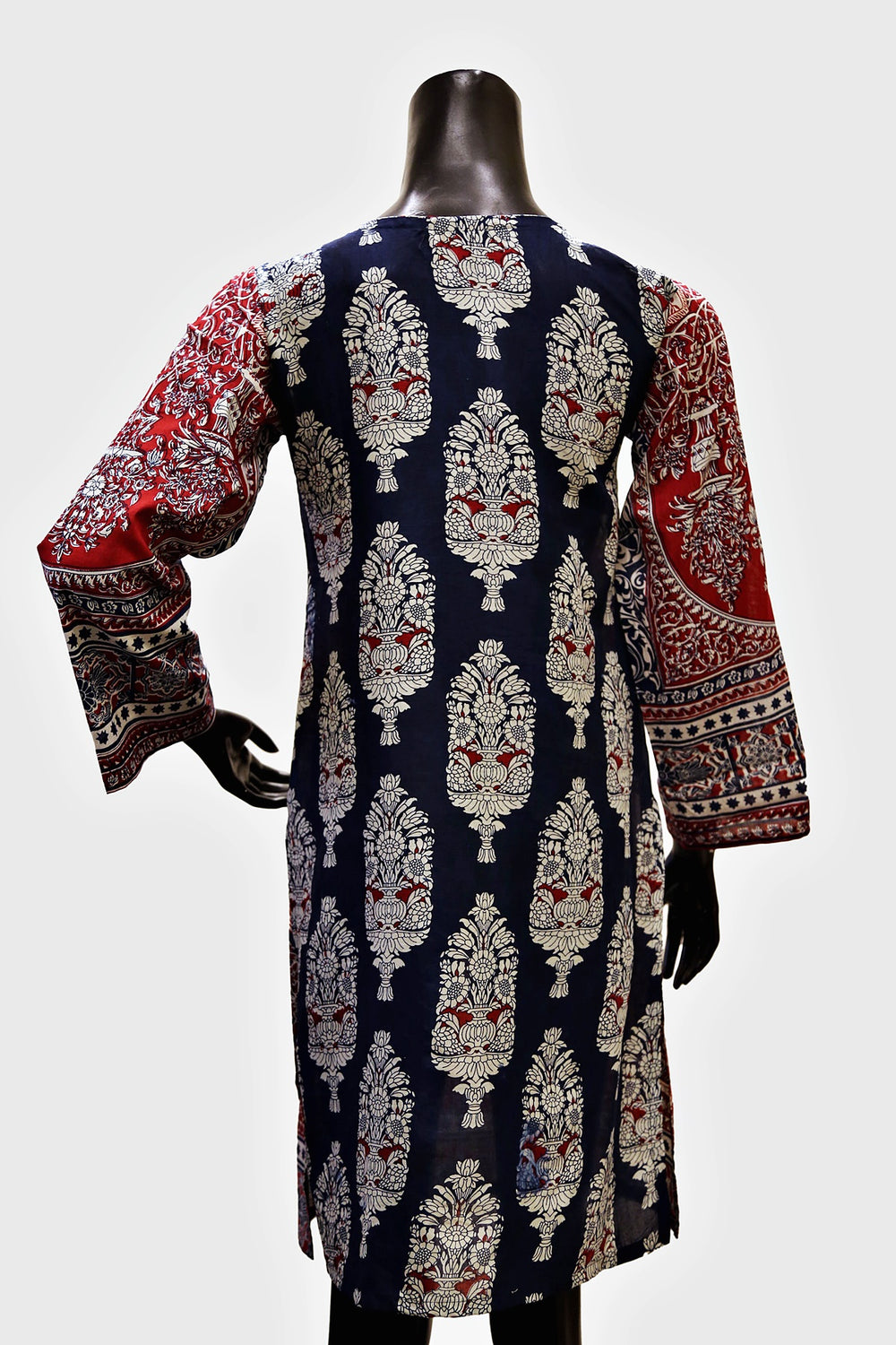 Red Embroidered Digital Print Kurti
