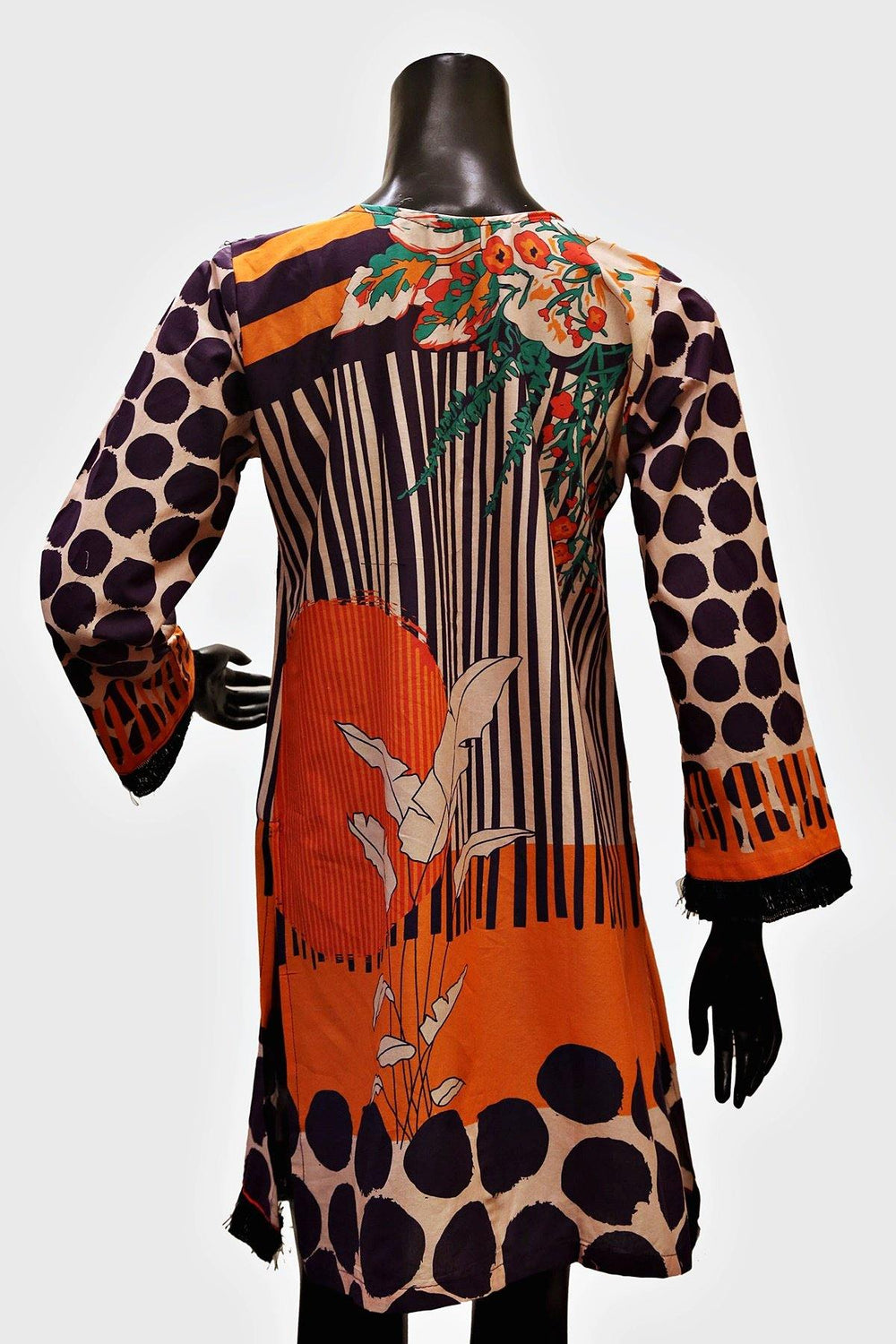 Floral Embroidered Stripes Print Kurti