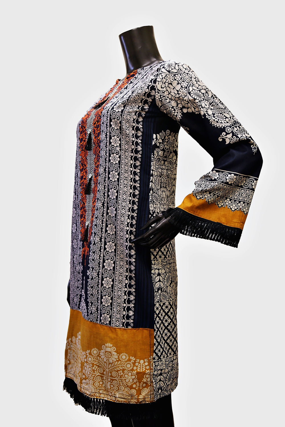 Orange Floral Embroidered Neck Kurti