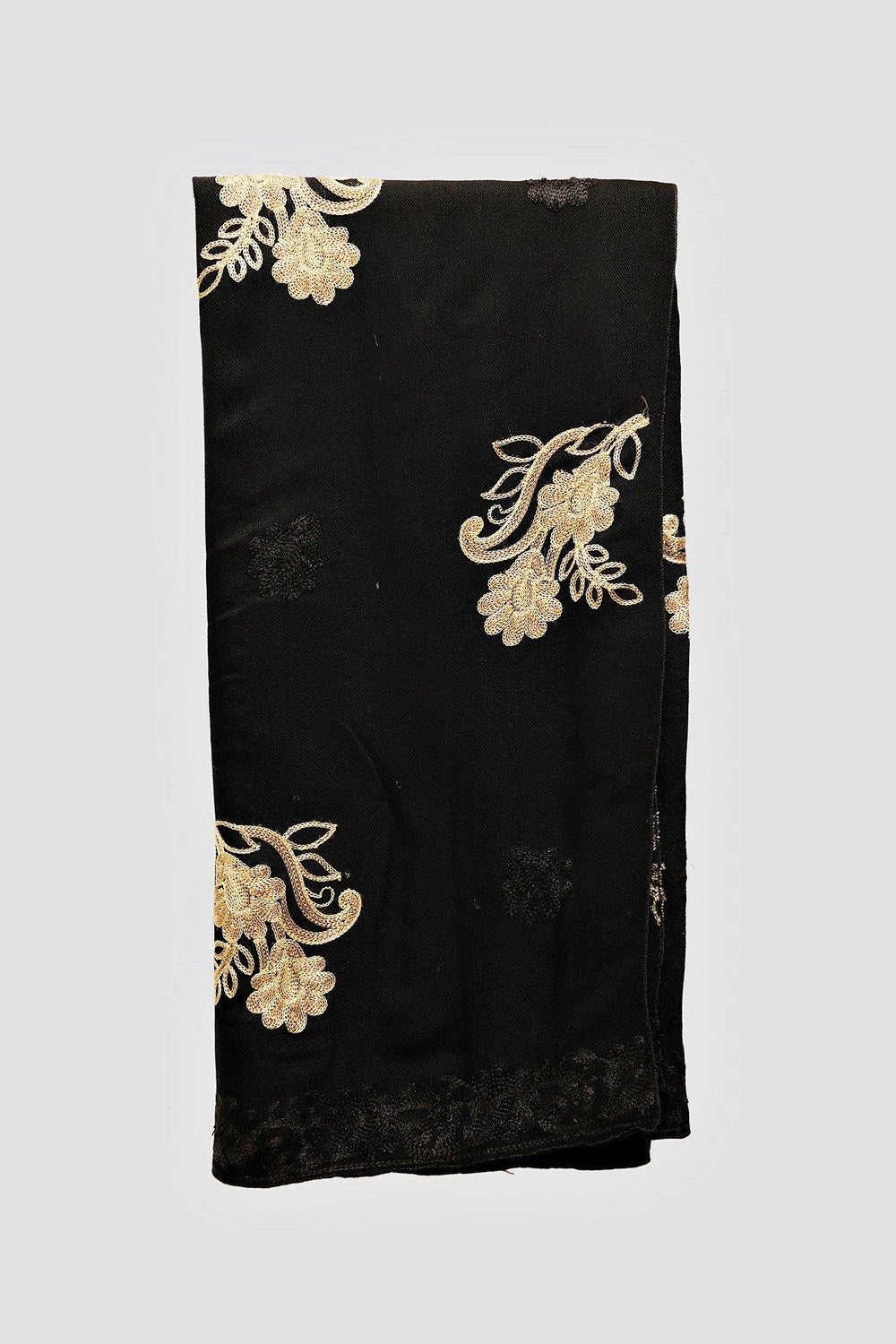 Golden Floral Embroidered Shawl