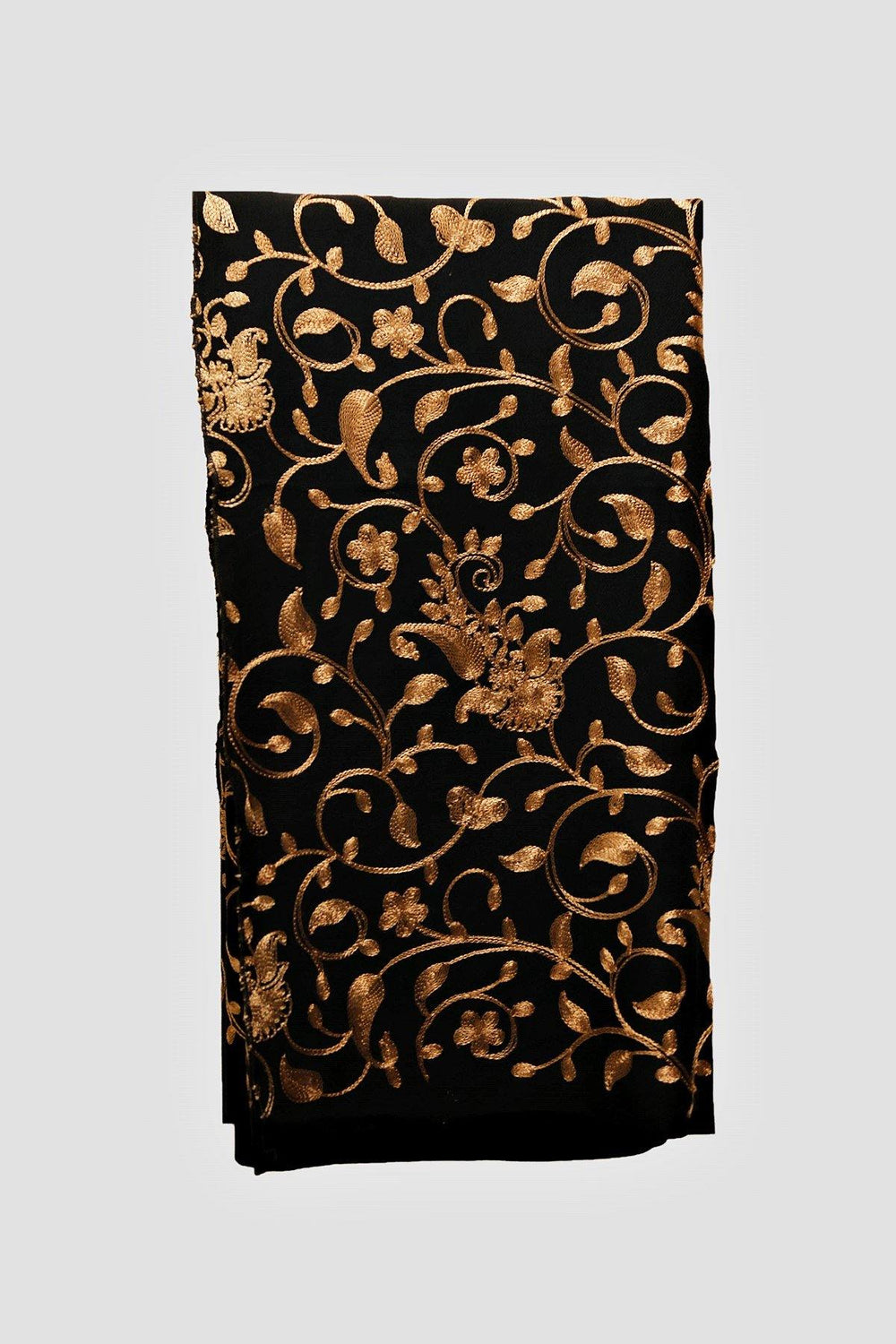 Golden Floral Leaves Embroidered Shawl