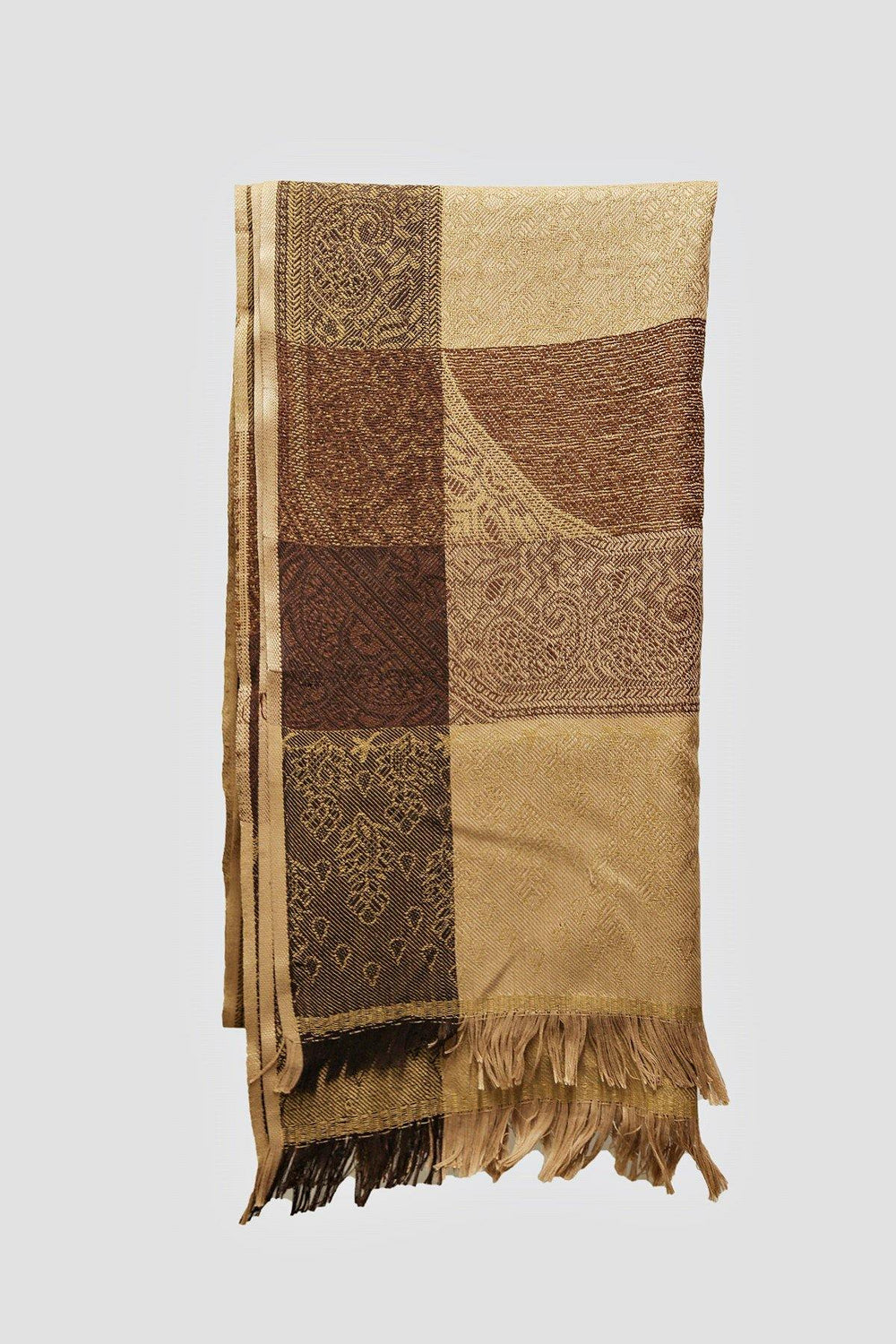 Woolen Brown Pattern Shawl - Brandsea UK