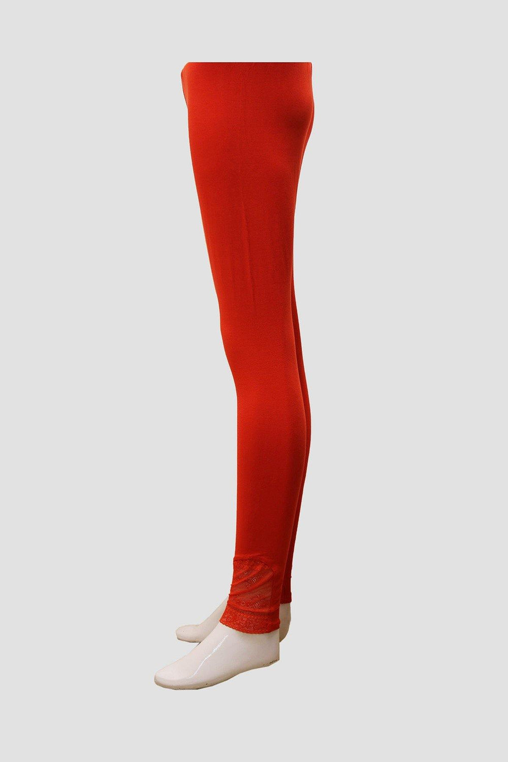 Ankle Lace Cotton Tights - Red - Brandsea UK