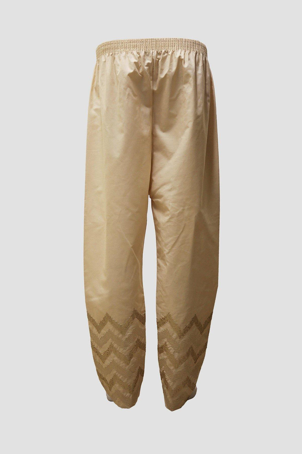 Cotton Stacker Embroidered Trousers - Beige