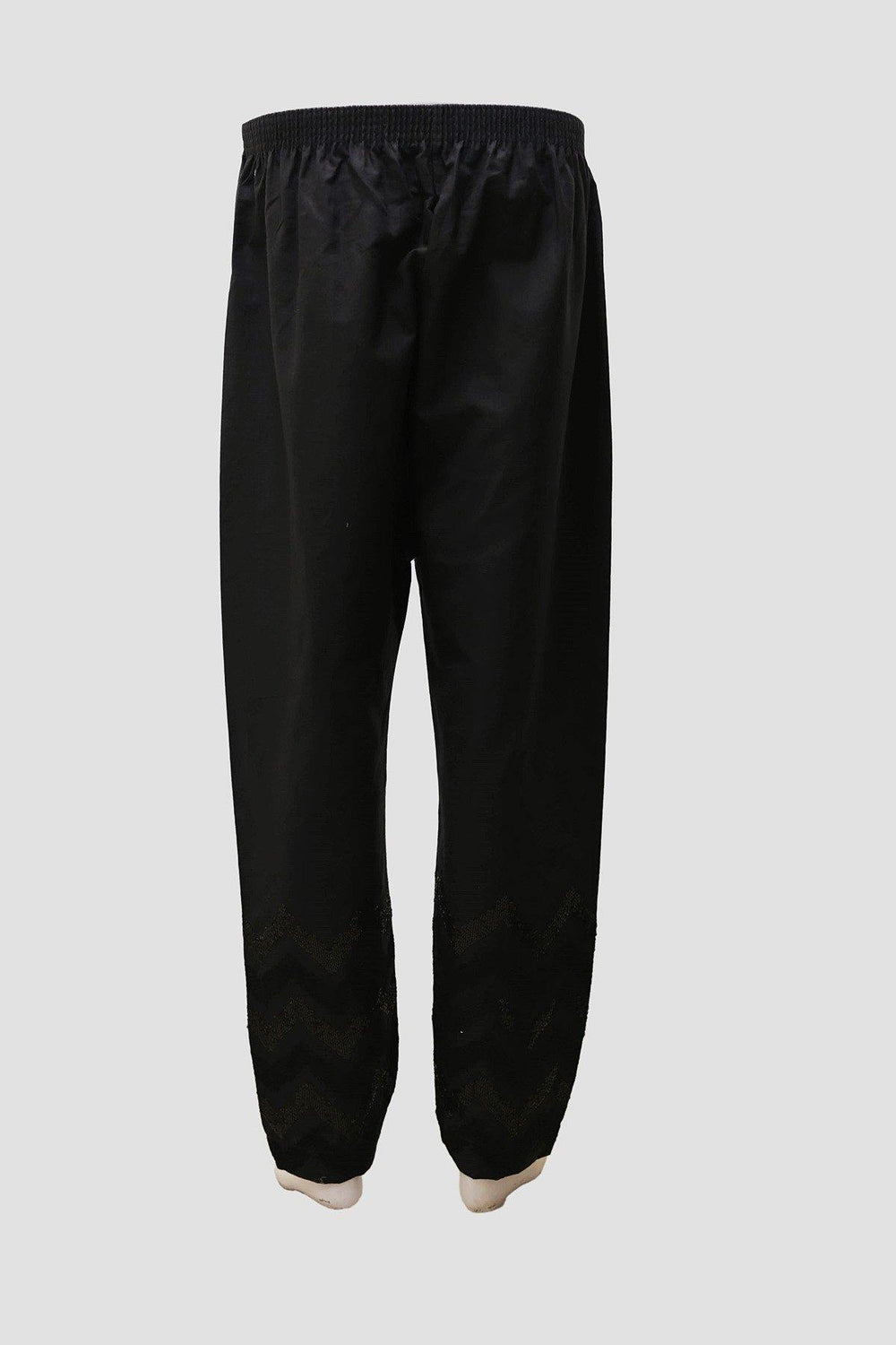 Cotton Stacker Embroidered Trousers - Black - Brandsea UK
