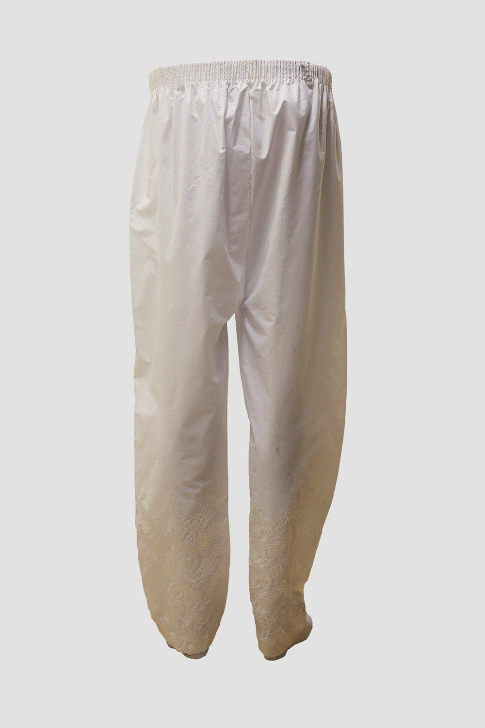 Cotton Stacker Embroidered Trousers - White - Brandsea UK