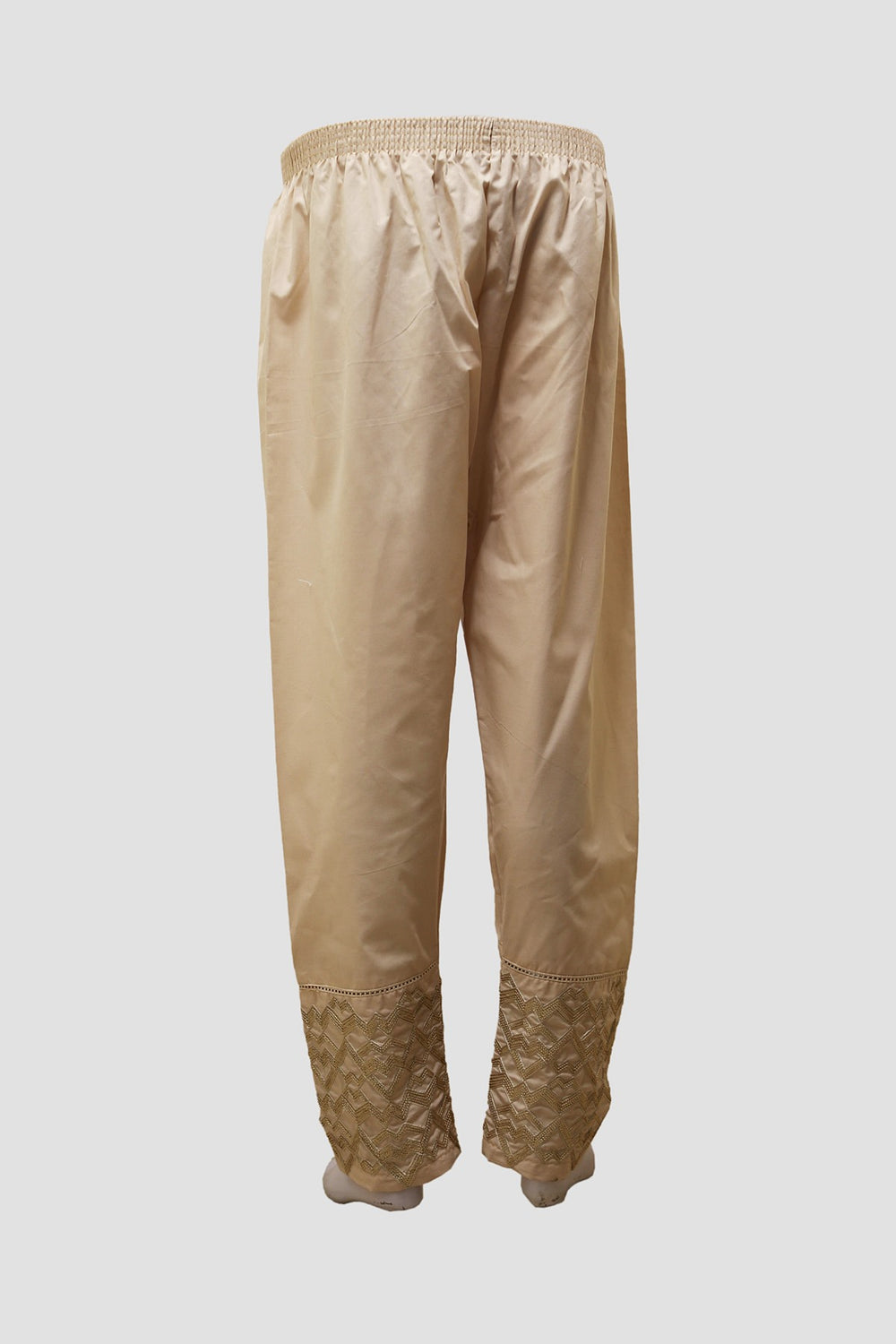 Women Double Embroidered Trousers - Beige