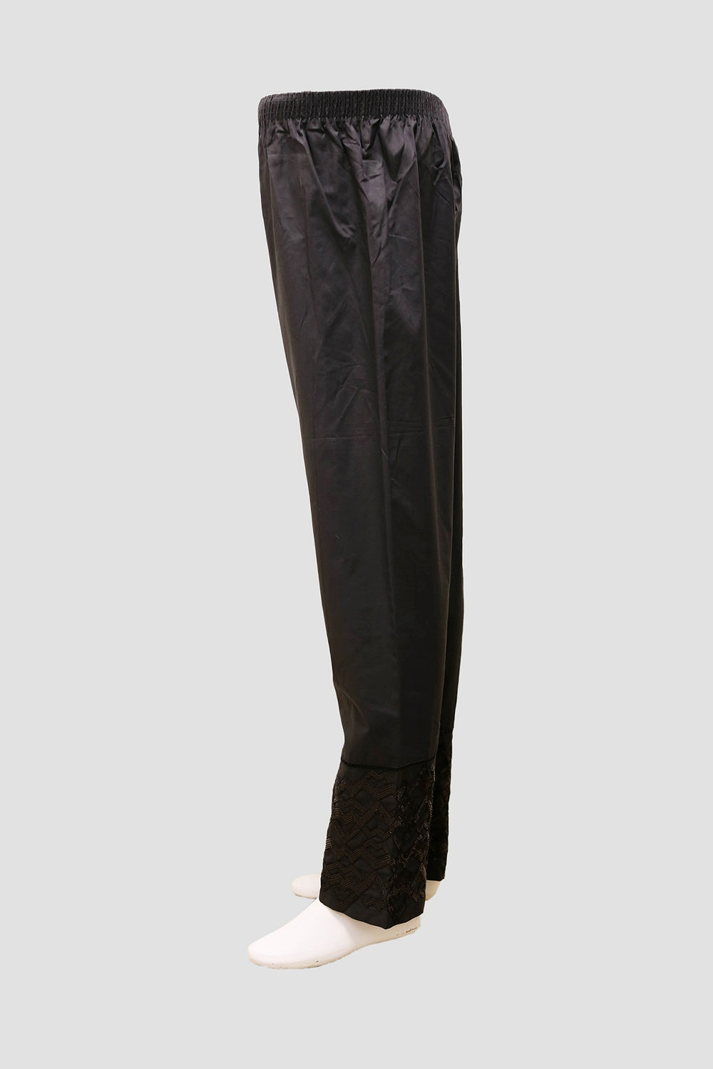Women Double Embroidered Trousers - Black
