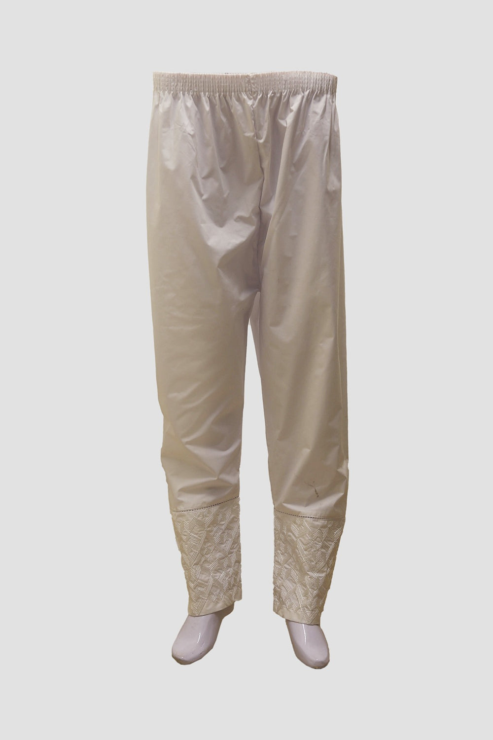 Women Double Embroidered Trousers - White