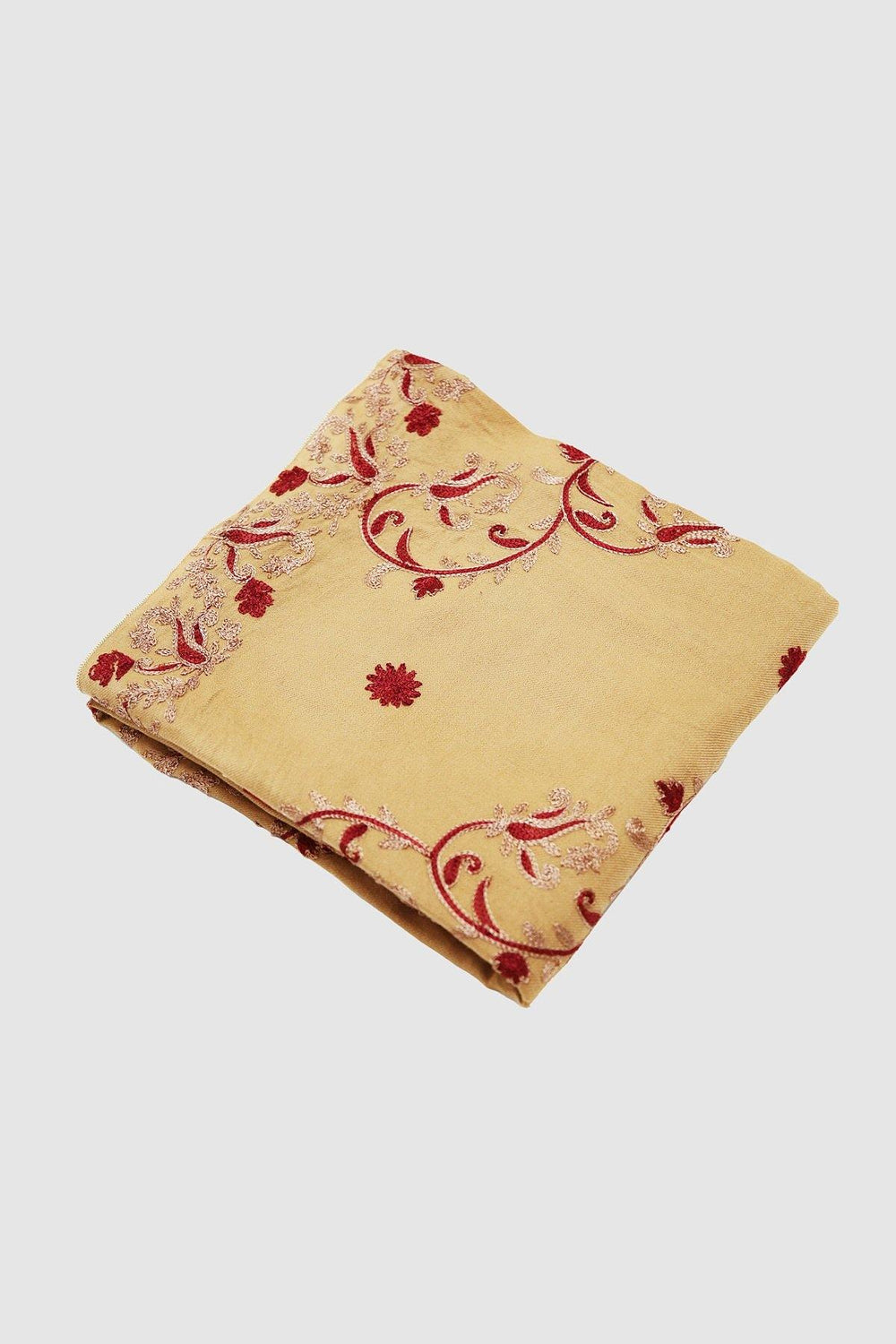 Maroon Leaves Embroidered Woolen Shawl - Brandsea UK