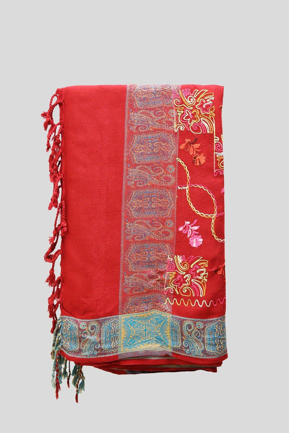 Colorful Floral Embroidered Woolen Shawl - Brandsea UK