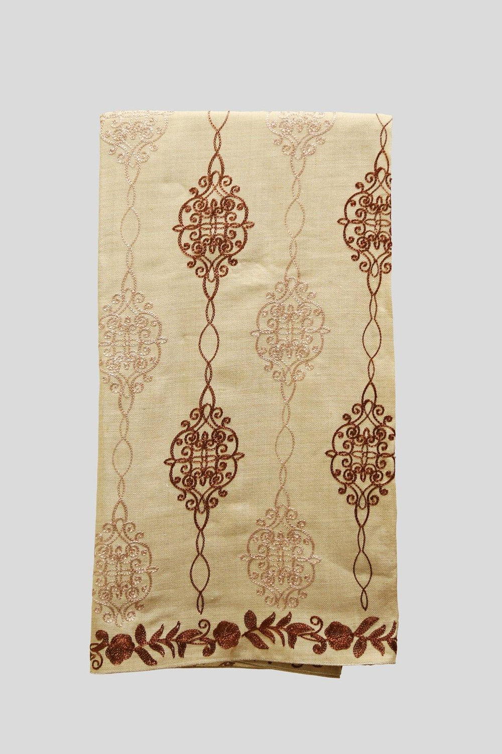 Beige & Brown Embroidered Woolen Shawl - Brandsea UK