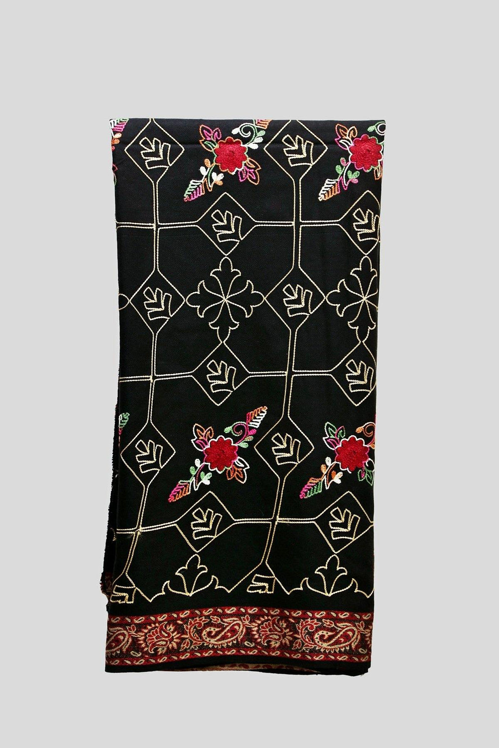 Colorful Floral Embroidered Woolen Shawl
