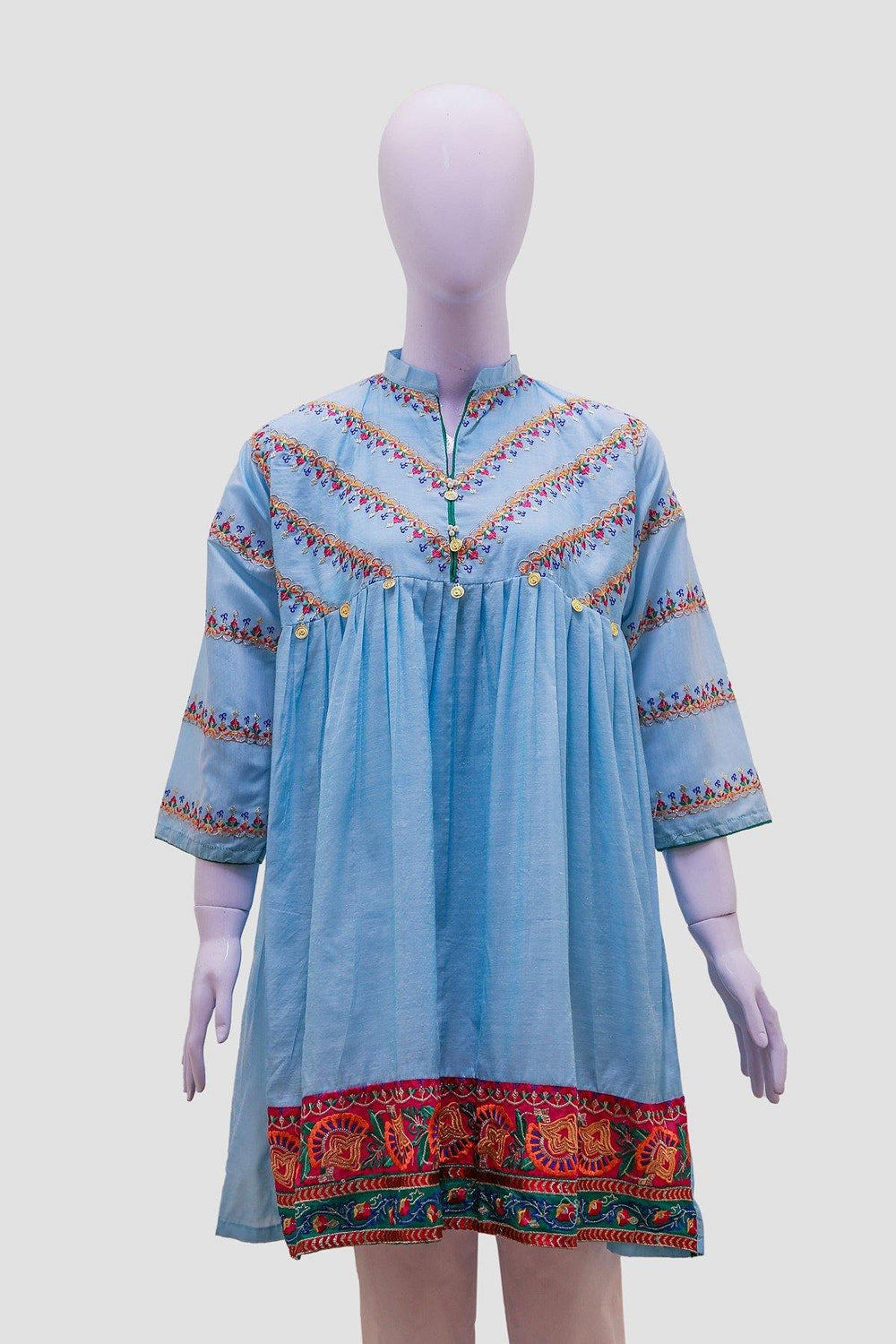 Embroidered Anarkali Swing Kurti - Aqua - Brandsea UK