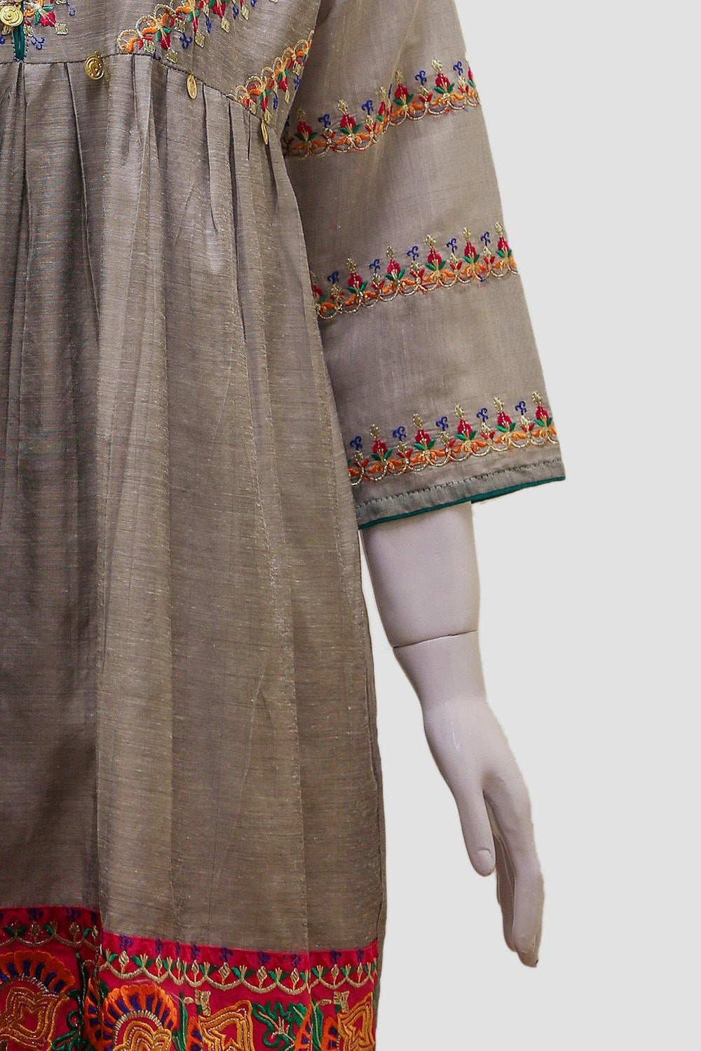 Embroidered Anarkali Swing Kurti - Grey