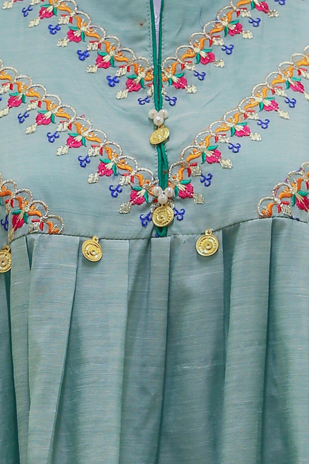 Embroidered Anarkali Swing Kurti - Light Green - Brandsea UK