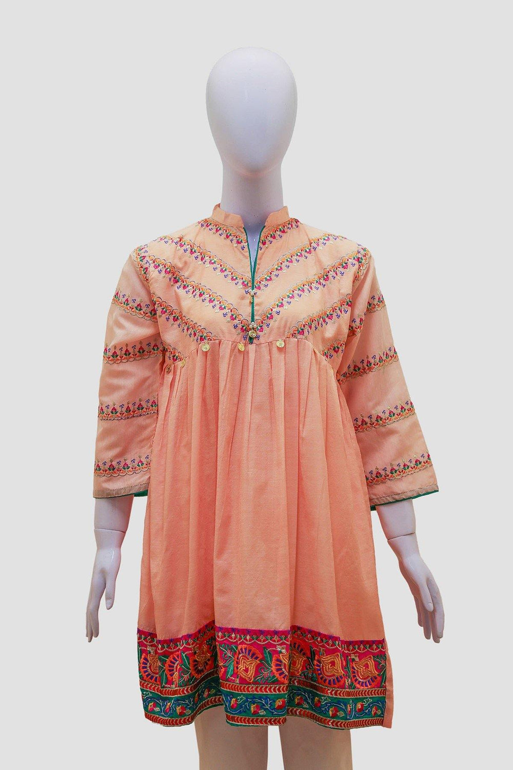 Embroidered Anarkali Swing Kurti - Pink - Brandsea UK