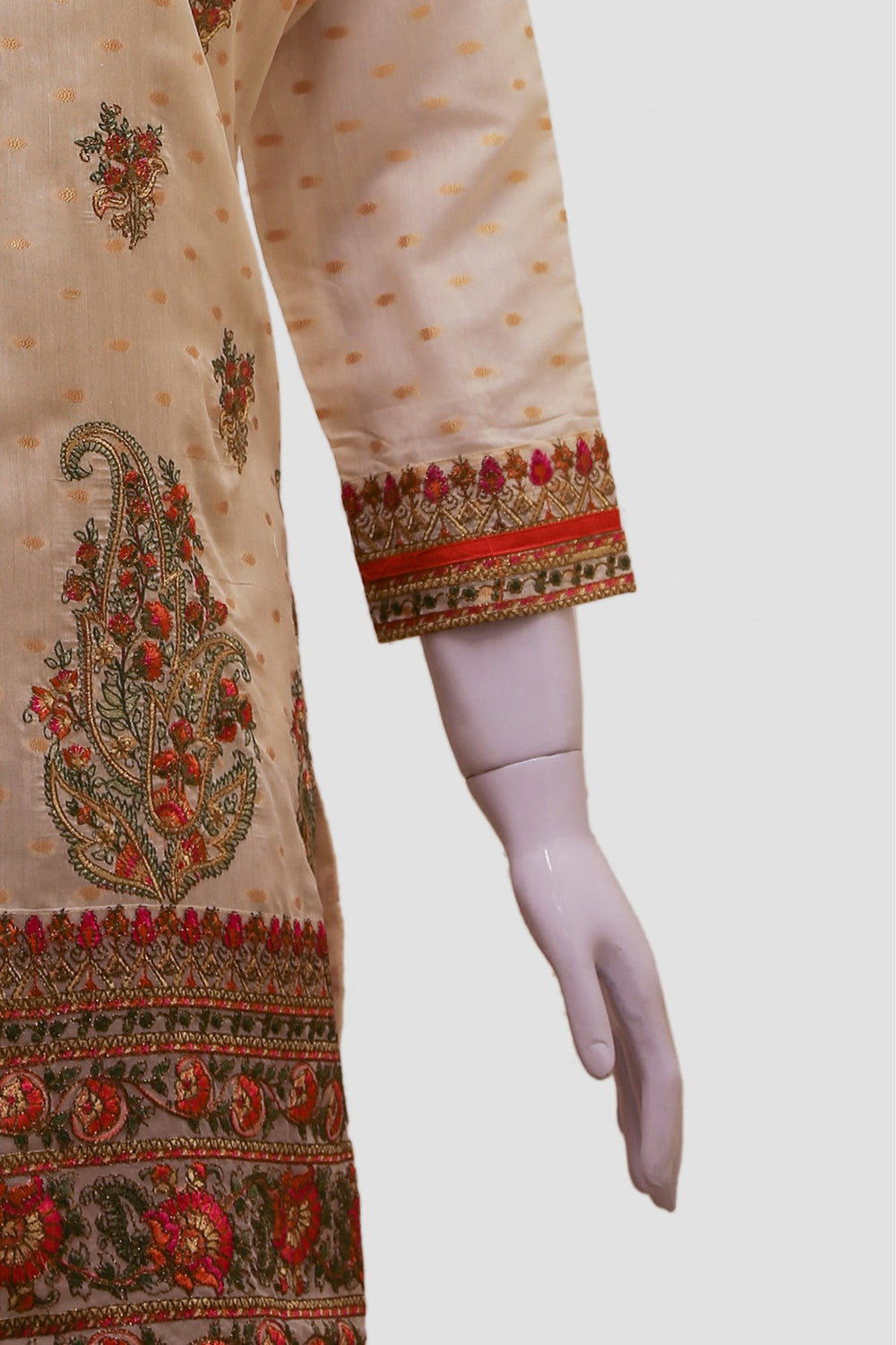 Neckline Lace Embroidered Kurti - Beige