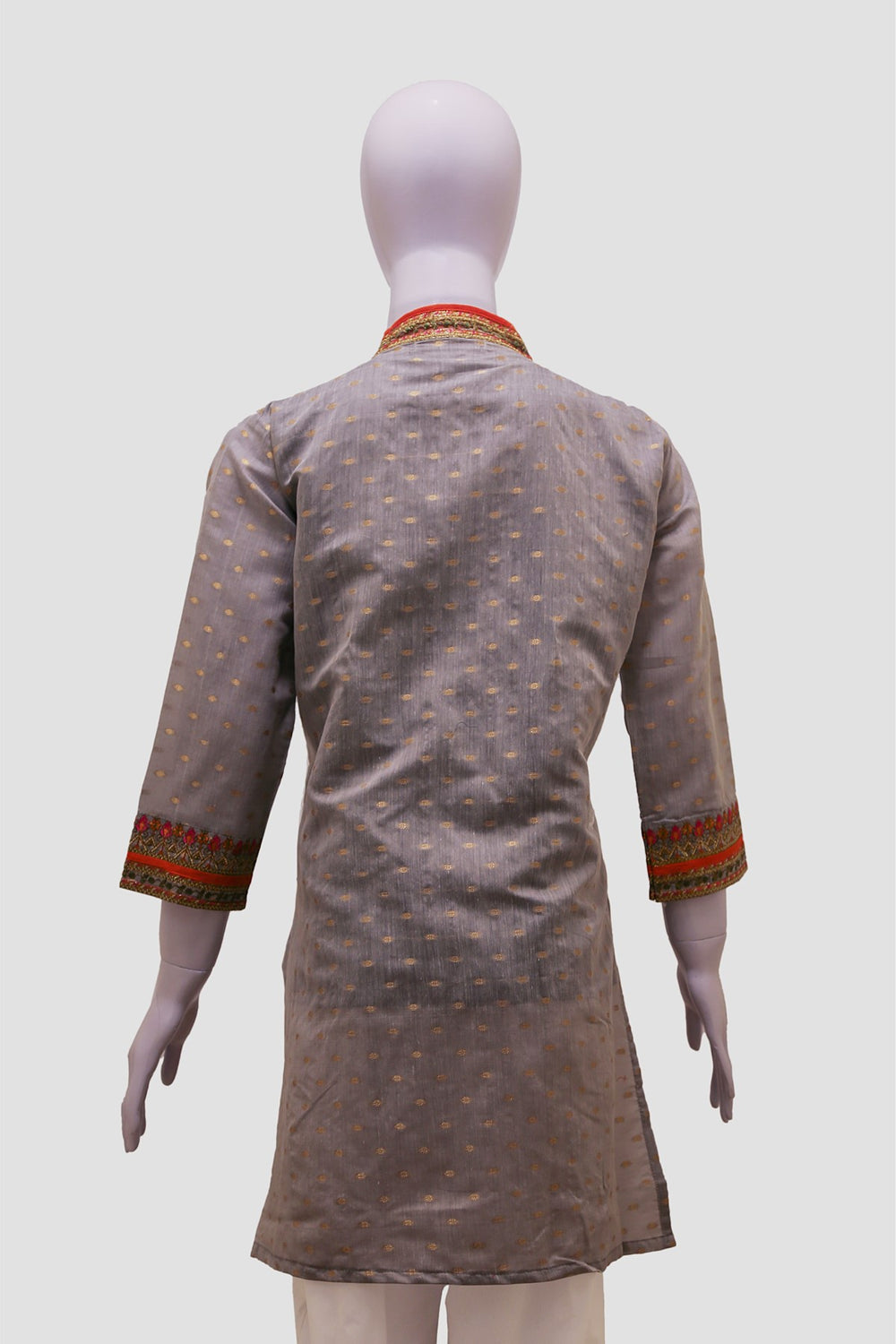 Neckline Lace Embroidered Kurti - Grey