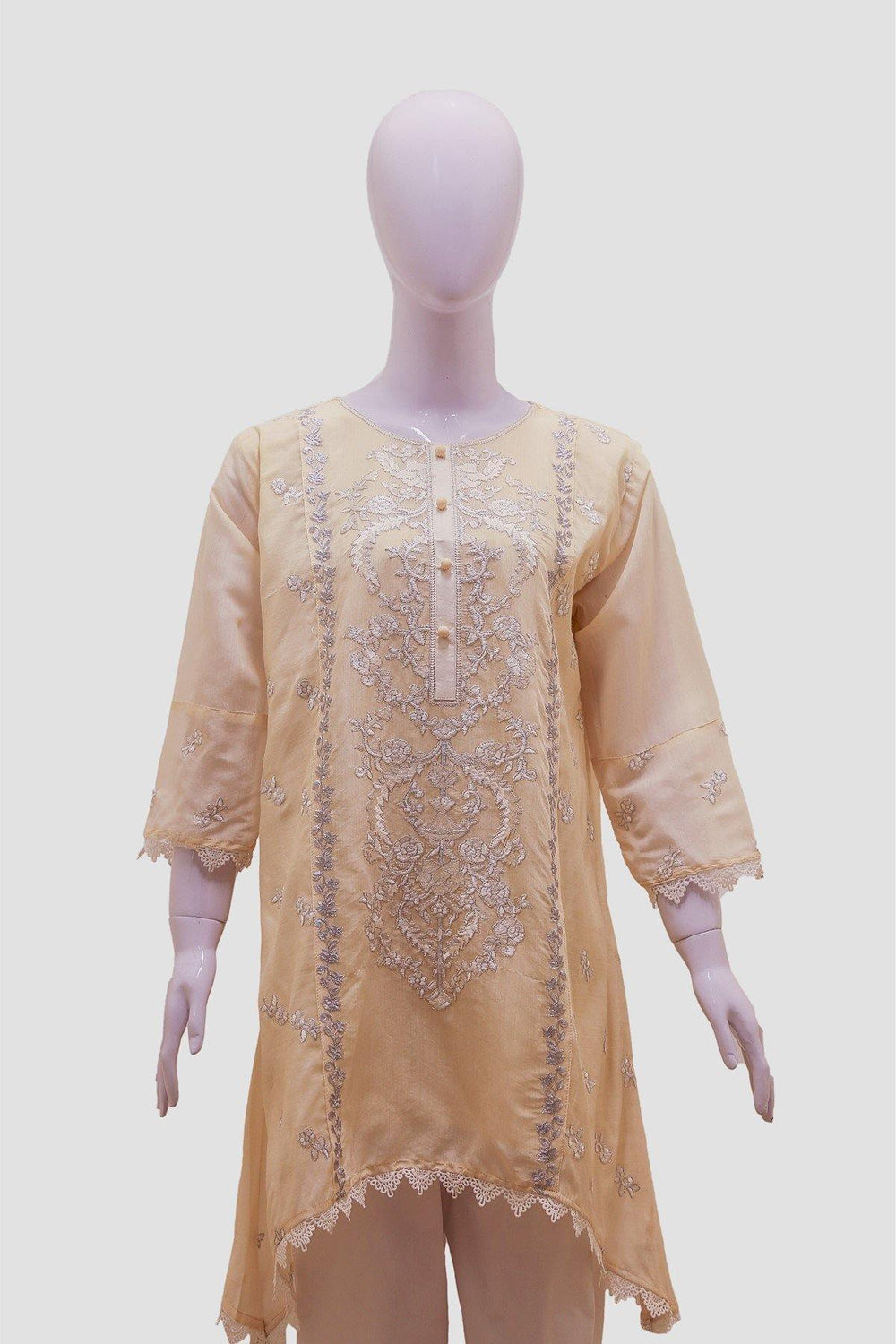 Floral Embroidered Stripes Kurti - Beige