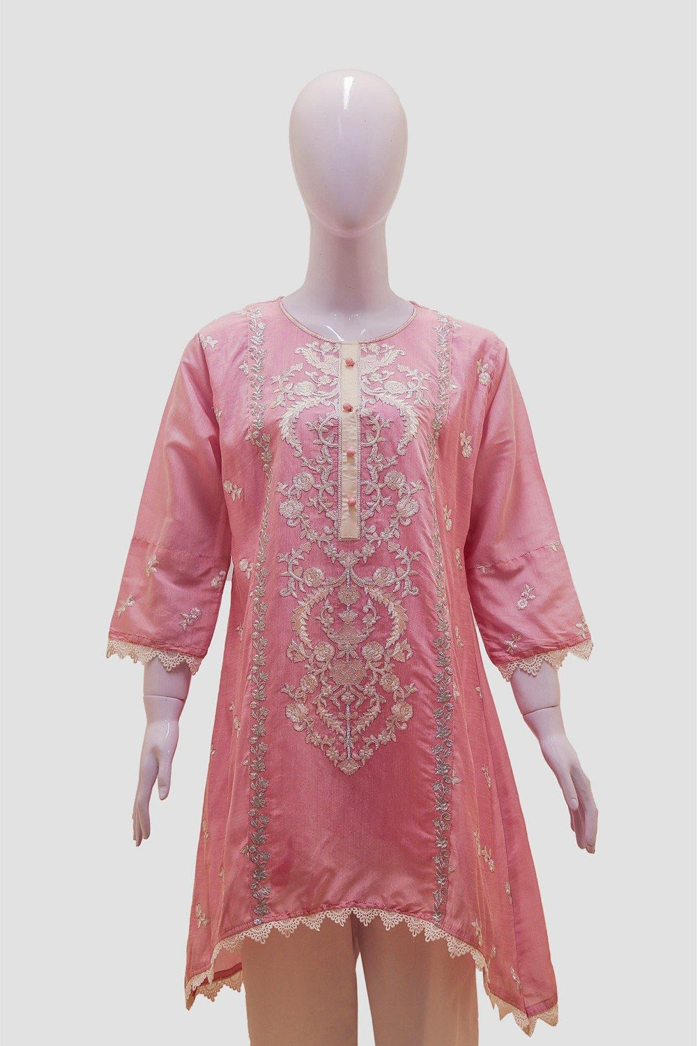 Floral Embroidered Stripes Kurti - Pink