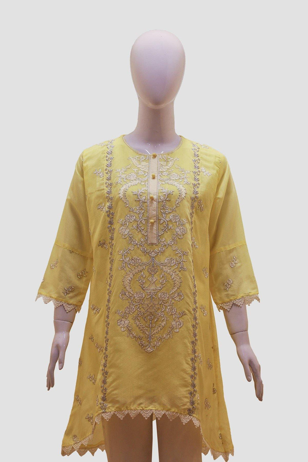 Floral Embroidered Stripes Kurti - Yellow - Brandsea UK