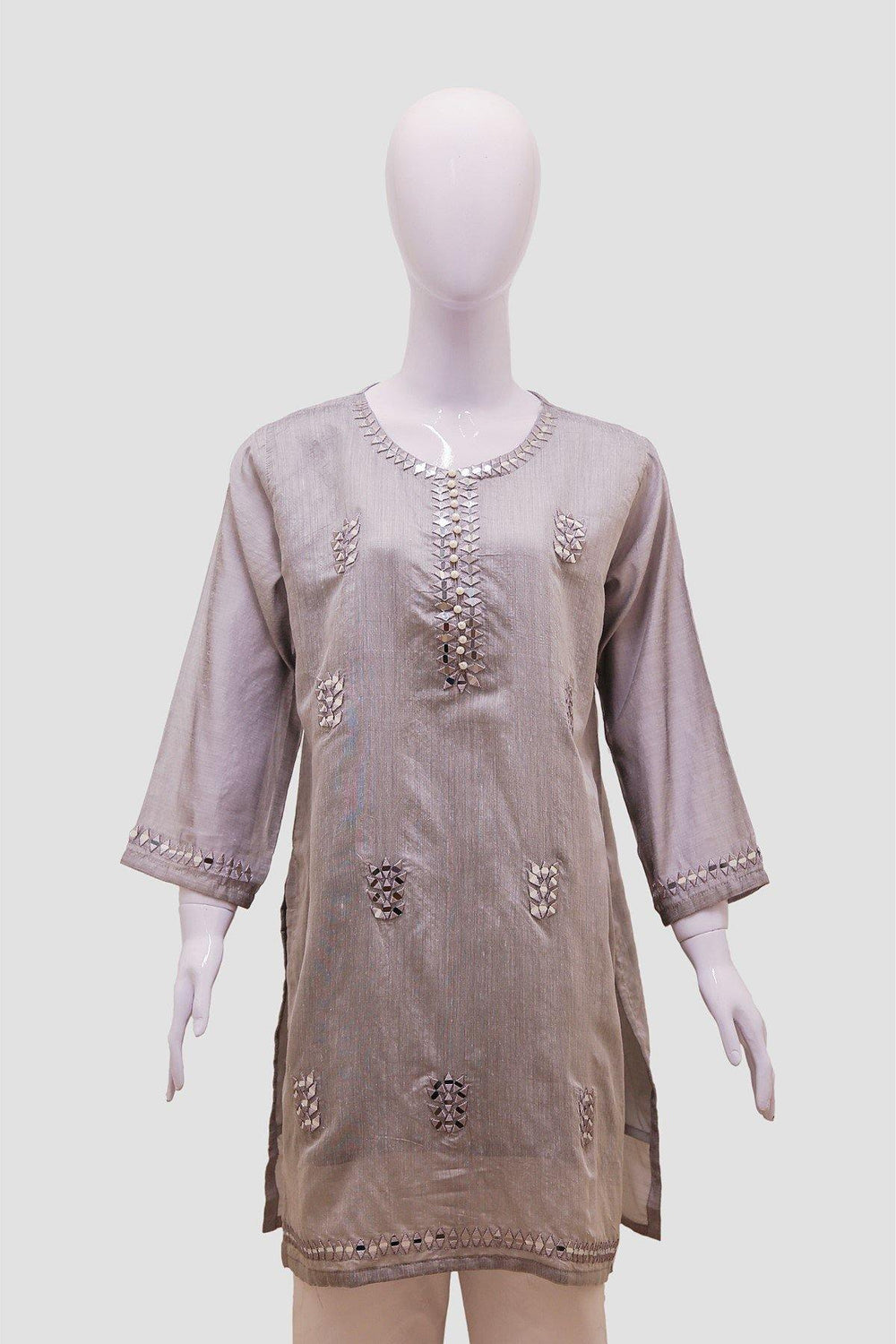 Mirror Embroidery Kurti - Grey - Brandsea UK