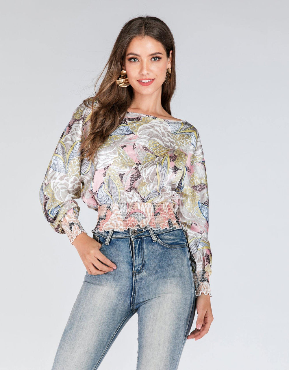 Long Sleeved Floral Blouse - Brandsea UK